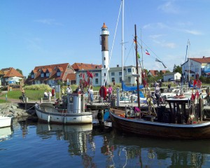 Timmendorf harbour and lighthouse