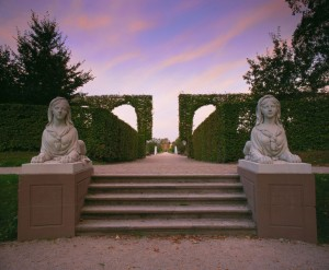 Schwetzingen Castle: sphinx statues at the bottom of the open-air theatre