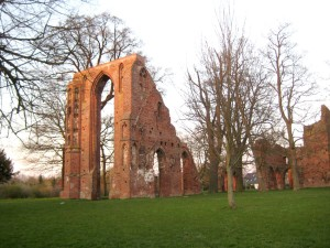 The ruins of Eldena Abbey, the university town and Hanseatic city of Greifswald