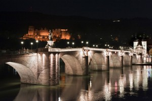 Heidelberg: illuminated old bridge