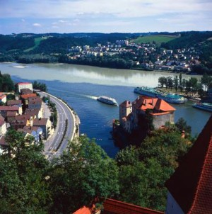 Passau three-river confluence