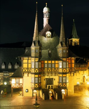 Wernigerode, Harz: evening view of the town hall in the market square