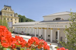 Bad Ischgl pump room (Trinkhalle) and flowers
