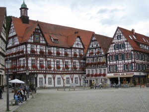 Bad Urach market square with typical timber-framed houses