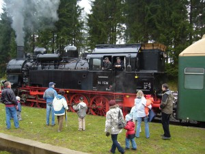 Steam train in Rennsteig station