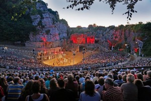 Scene from the Karl May Festival on the stage of the open-air theatre on Kalkberg hill in Bad Segeberg