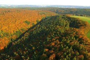 Bird's eye view of a colourful autumnal scene in Hafenlohrtal valley
