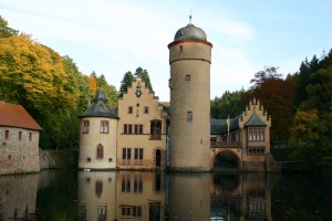 Front of the famous moated castle in Mespelbrunn