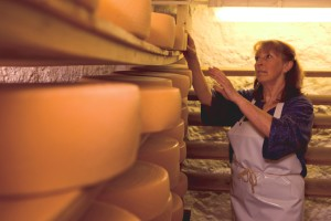 Cheese maker with a wheel of cheese in a cheese cellar