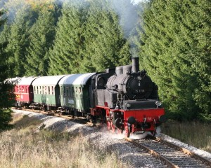 A steam train is pulling three vintage passenger coaches through a coniferous forest. The sun is shining through the trees on the left. The railway tracks are rising up slightly towards the observer.
