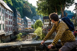 Cyclists in Monschau, Eifel