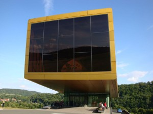 The Nebra Ark visitor centre with a panoramic window