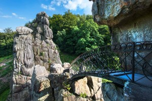 The Externsteine sandstone rock formations with a bridge between rocks that can be walked on