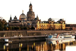 The Church of Our Lady in Dresden, panorama of the Elbe river
