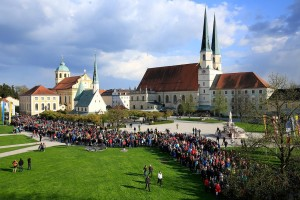 A youth pilgrimage group from Passau meet at Kapellplatz (Chapel Square) in Altötting