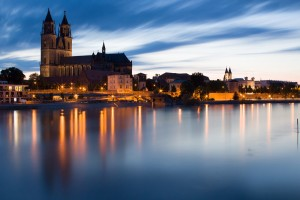 Magdeburg Cathedral at nightfall