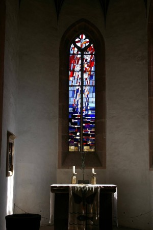 Stained-glass window in Sulz Chapel