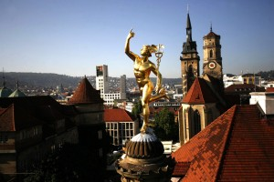 Stuttgart, Stuttgart towers and gold figure