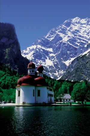 Bavaria, St. Bartholomew's Church at Lake Königssee