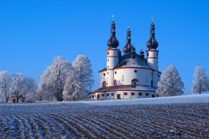 Waldsassen, Pilgrimage Church of the Holy Trinity with a dusting of snow