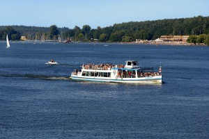 Berlin, Wannsee Lake with beach and pleasure boat