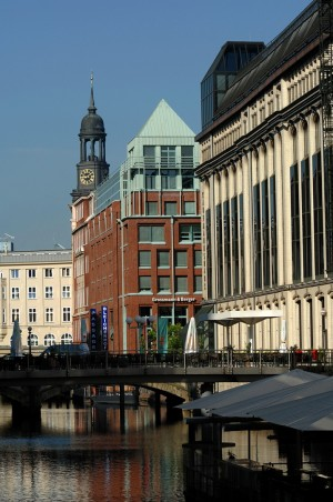 Hamburg, view of canal and St. Michael's Church ('Michel')
