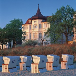 Binz, a vision in white: villas and beach chairs at dusk