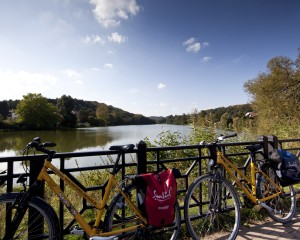 Saarland, taking a break from cycling by the lake