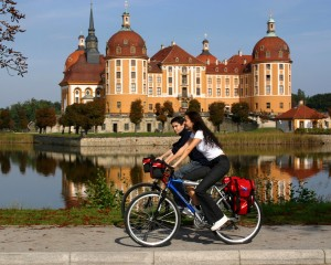 Near Dresden, cyclists at Moritzburg Castle