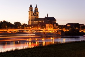 Magdeburg, Cathedral at dusk