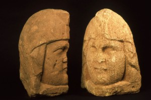 Roman stone heads with Phrygian cap