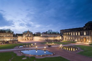 Dresden: Zwinger, rampart pavilion in the evening
