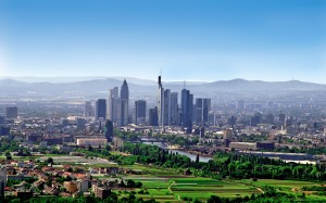 Frankfurt am Main, skyline set in open countryside
