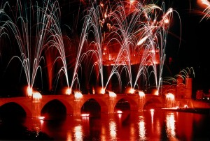 Heidelberg, fireworks over the Neckar