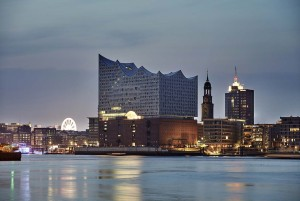 Hamburg: Elbe Philharmonic Hall in the evening