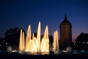 Mannheim: water sculptures in the park around the water tower