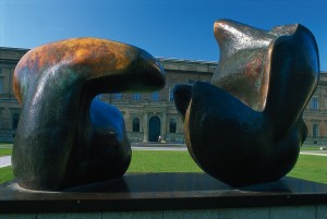 Munich, sculpture by Henry Moore in front of the Alte Pinakothek gallery