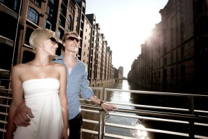 Young couple enjoying Speicherstadt