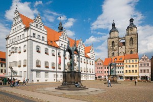 Wittenberg, statues of Melanchthon and Luther