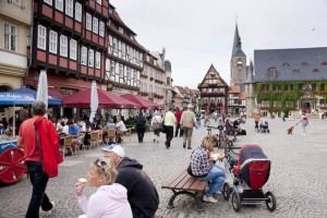 Market square with town hall in Quedlinburg